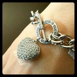 Guess chain link heart charm bracelet